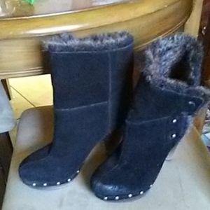 Seychelles Black Leather Fur Boot